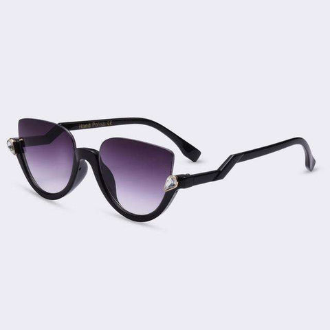 Semi-Rimless Fashion Luxury Diamond Decoration Sunglasses - Wear.Style