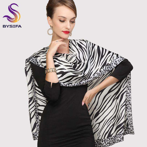 Long Silk Striped Pattern Black White Scarf - Wear.Style