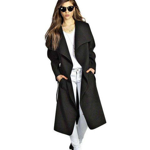 Lapel Long Sleeve With Pocket Knee Length Trench Coat