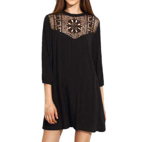 Vintage Sexy Short Chiffon Short Sleeve Black chiffon Dress