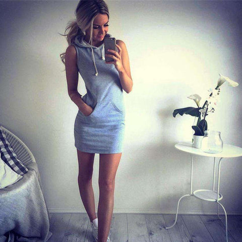 Hoody Casual Sleeveless Grey Mini Casual Dress - Wear.Style