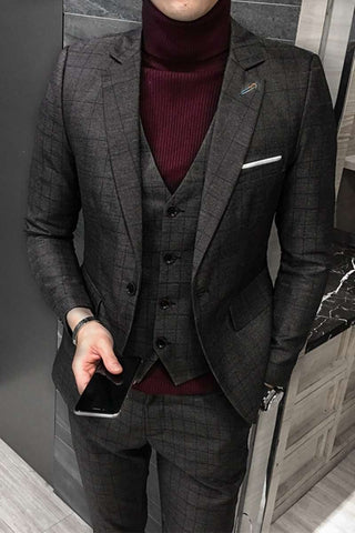Slim Fit Single Breasted Business Plaid Suits