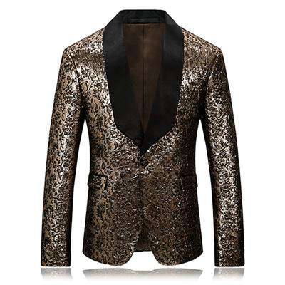 Single Button Gold Printed Floral Slim Fit Blazer