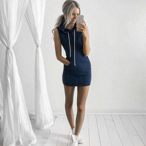 Round Neck Casual Sleeveless Hoody Dress