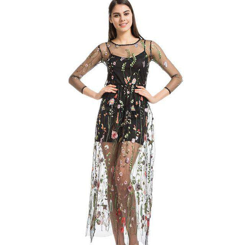 Mesh Flower Floral Embroidery Long Dress
