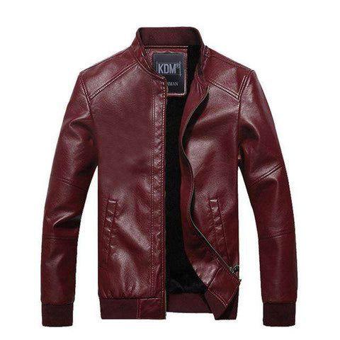 Fur Inside Windbreaker Leather Jacket - WS-Jackets