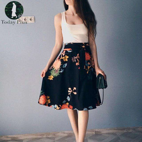 Loose Casual Floral Print A-Line Lace Up Pleated Elegant Skirt - Wear.Style