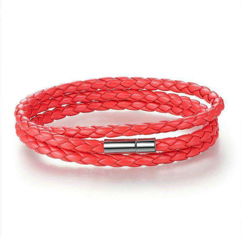 Red PU Leather Bracelet With Magnet Clasp