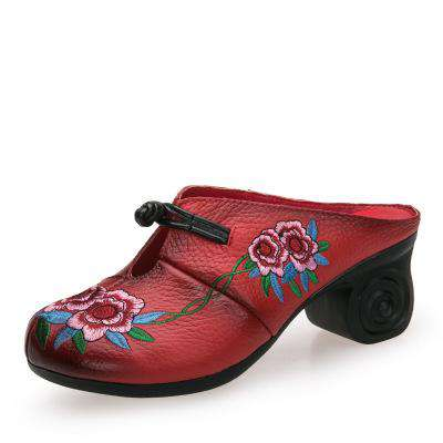Embroider Genuine Leather Handmade Flower Cover Shoes - Wear.Style