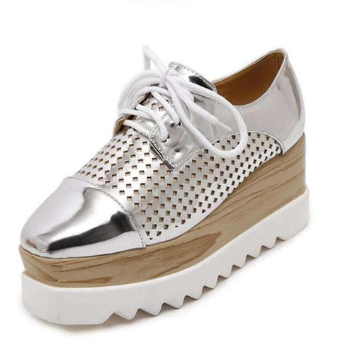 Oxfords Brogue PU Leather Silver Casual Shoes