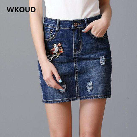 Bird Embroidery Mini Skirt With Pocket - Wear.Style