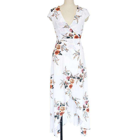 Long Summer Sexy Deep V Floral Chiffon Maxi Front Split Bohemian Dress - Wear.Style