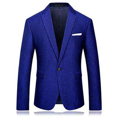 Blue Single Button Printed Slim Fit High Quality Blazer