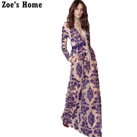 Boho Style Embroidery Long Maxi Sexy Deep V-neck Dress - Wear.Style