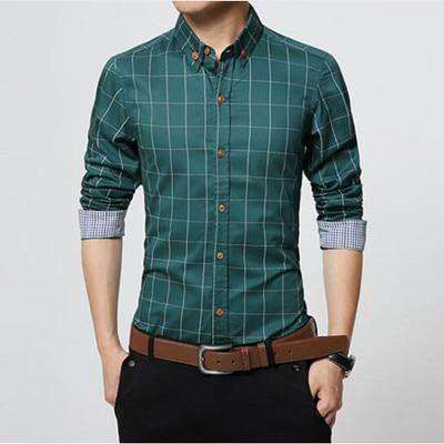 Checks Square Collar Plaid Slim Fit Long Sleeve 100% Cotton Shirt