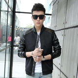 Slim PU Leather Bomber Jackets - Wear.Style