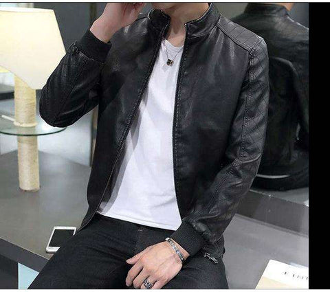 PU Leather Slim fit Zipper Jacket - Wear.Style