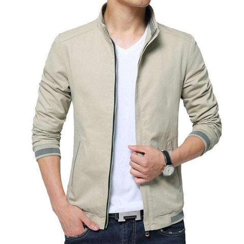 Solid Stand Collar Casual Jacket - Wear.Style