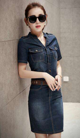 Style Sexy Short Sleeve Slim Casual Club Denim Dress