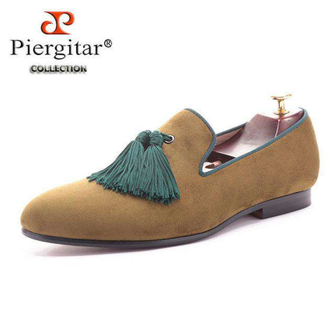Green Tassel Luxurious Velvet Loafers