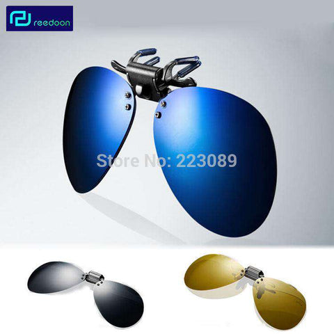 Large Frame Myopia Clip Coating Sun Glasses with Night  Vision