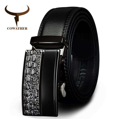 Genuine Leather Metal Automatic Buckle Strap Belts - Wear.Style