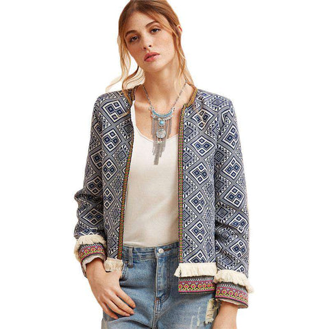 Tribal Embroidered Fringe Tape Trim Long Sleeve Boho Jacket
