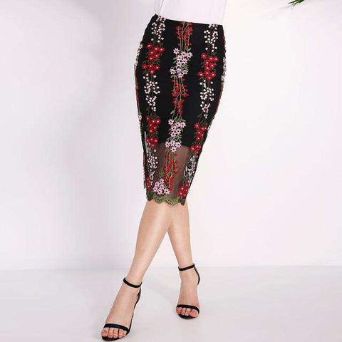 Split Hem Elegant Black Floral Embroidered Mesh Overlay Skirts