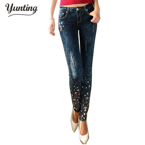 Diamond Drilled Broken Hole Feet Pencil jeans - Wear.Style