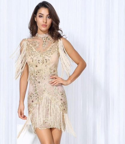 Golden Lace tassel Troupe Dress