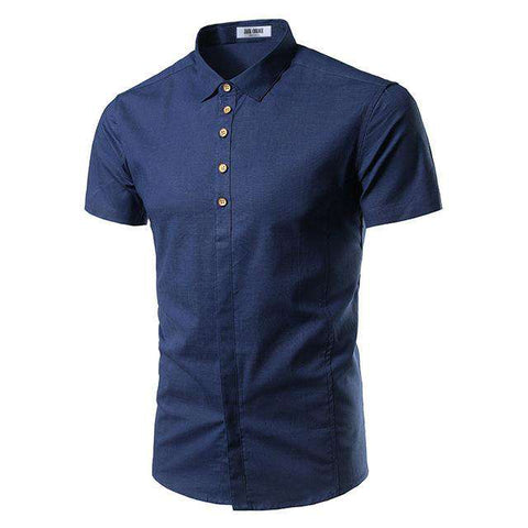 Casual Slim Fit Covered Button Short Sleeve Shirts