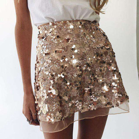 Gold Sequin Mesh Mini High Waist Zipper Short Skirt