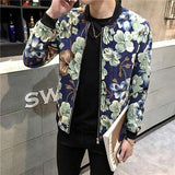Print  Collarless Slim Jacket - WS-Jackets
