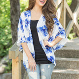 Floral Printed Open Cape Casual Half Sleeve Loose Batwing Sleeve Coat
