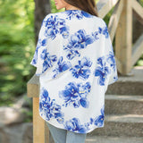 Floral Printed Open Cape Casual Half Sleeve Loose Batwing Sleeve Coat - Wear.Style
