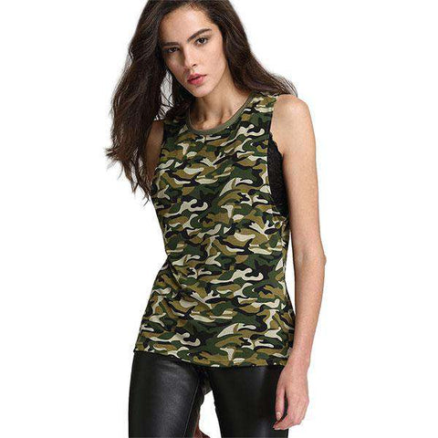Camouflage O-Neck Cotton Sleeveless Striped T Shirt