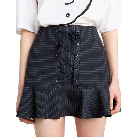 Striped High Waist Cross Strap Front Ruffle Preppy Style A-line Skirt