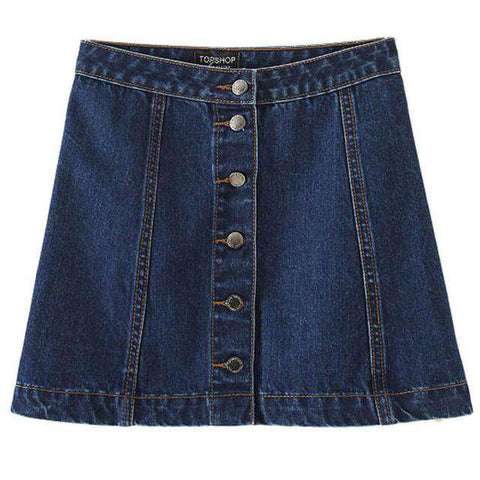 Front Button Denim Skirt - Wear.Style