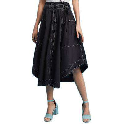 Solid Black Top Stitch Pocket Button TieAsymmetric Style Midi Skirt - Wear.Style