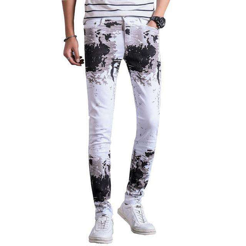 Printed White Slim Fit Casual Jeans - Wear.Style