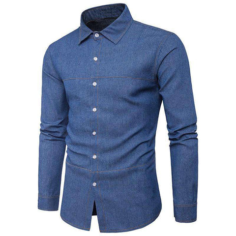 Denim Buttons Down Lapel Blue Color Long Sleeve Slim Fit Shirt - Wear.Style