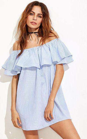 Blue Vertical Striped Layered Flounce Off the Shoulder Ruffle Short Dress - Wear.Style