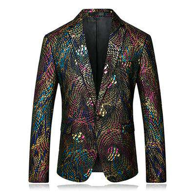 Single Button Floral Printed Slim Fit Asian Blazer