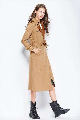 Buckskin Windbreaker Turn-down Collar Medium Long Trench Coat