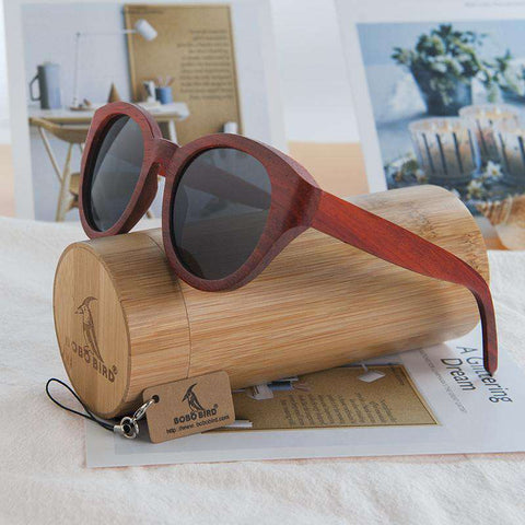 Big Cat Eye Nature Red Sandalwood Glasses
