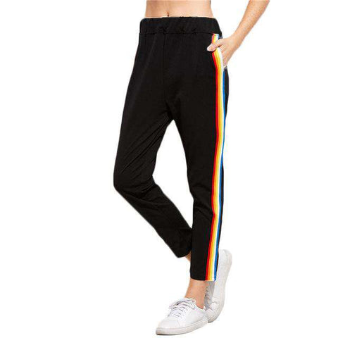 Black Rainbow Stripe Side Elastic Waist Mid Waist Loose Sweatpants