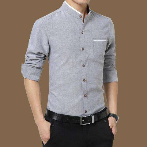 Long Sleeve Mandarin Collar Slim Fit Shirt