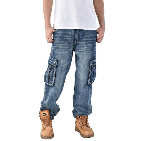 Baggy Hip Hop Multi Pockets Skateboard Cargo Tactical Denim Jeans