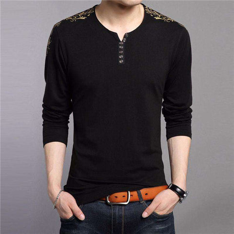 Long Sleeve 100% Cotton Henry Collar Tshirt