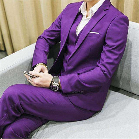 Single Breasted Skinny Fit Three-piece Business Suits